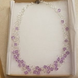 Silver crocheted and lavender purple necklace